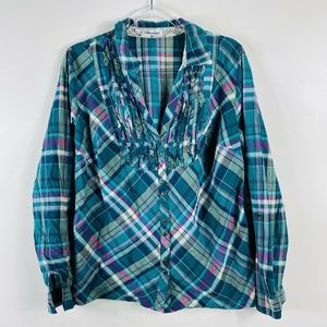 Maurices Green Plaid Button Top Long Sleeve Ruffle